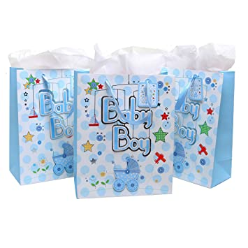 Amazon Mygift Cute Light Blue Boy Baby Shower Gift Bags