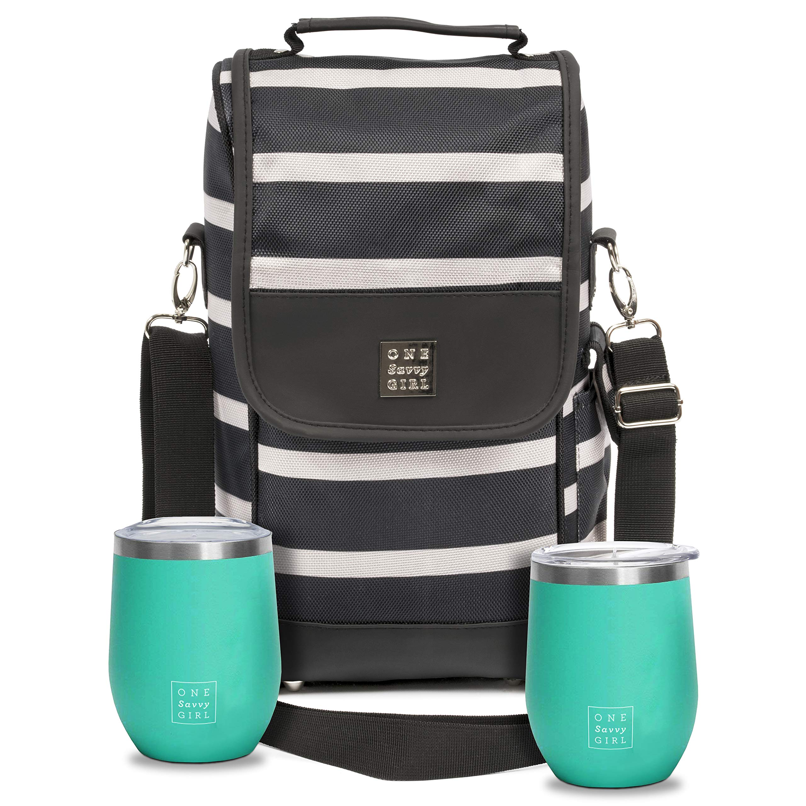 One Savvy Girl Wine Tote Bag with Stainless Steel Stemless Wine Glasses - 2 Bottle Wine Carrier Purse - Perfect for Travel, Events, Beach, Pool, Picnic & More - Great Gift for Women and Wine Lovers