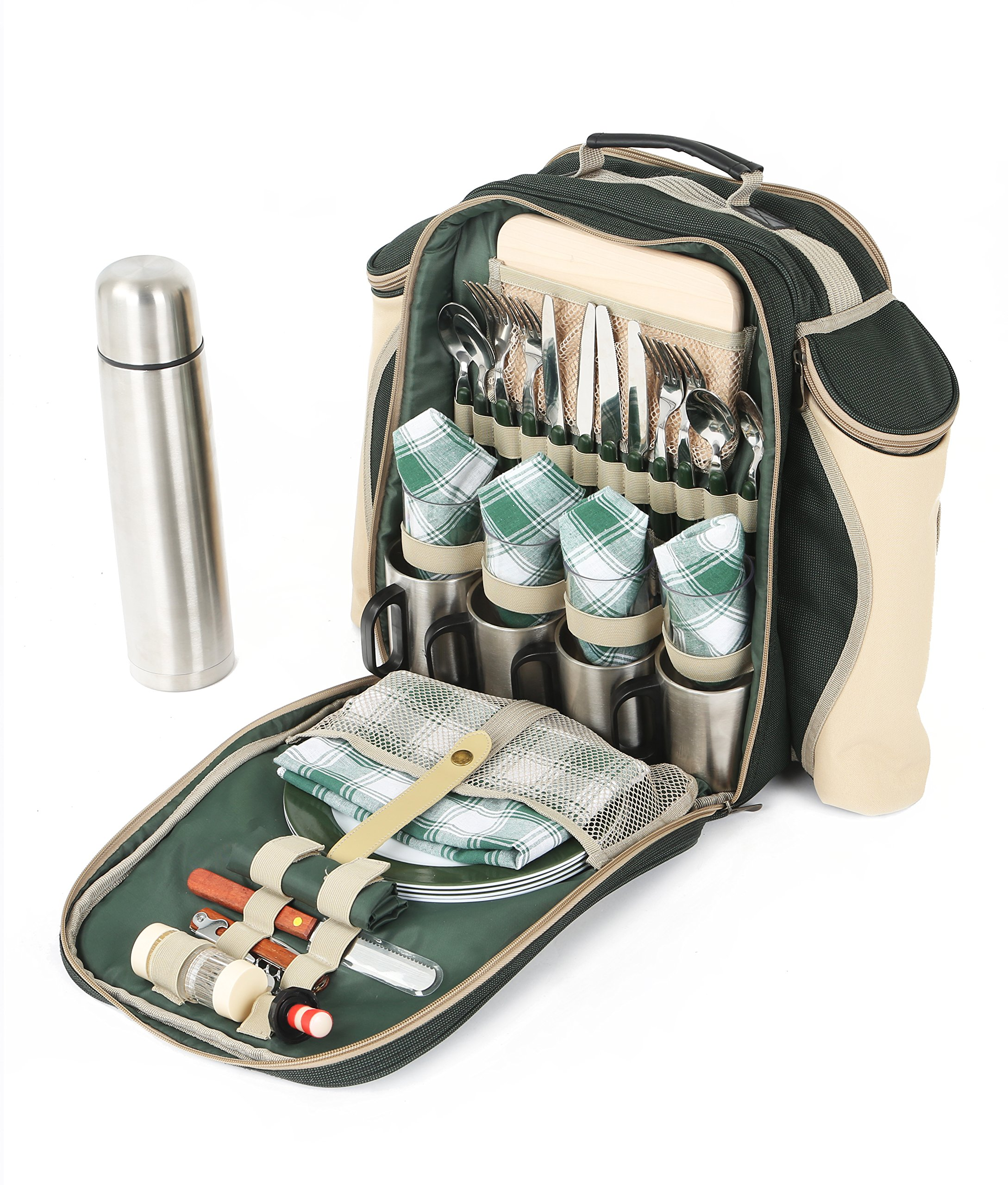 Greenfield Collection Super Deluxe Forest Green Picnic Backpack Hamper for Four People