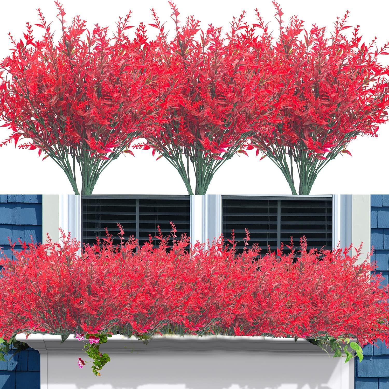 12 Bundles Artificial Lavender Flowers Outdoor Fake Flowers for Decoration UV Resistant No Fade Faux Plastic Plants Garden Porch Window Box Décor (Red)