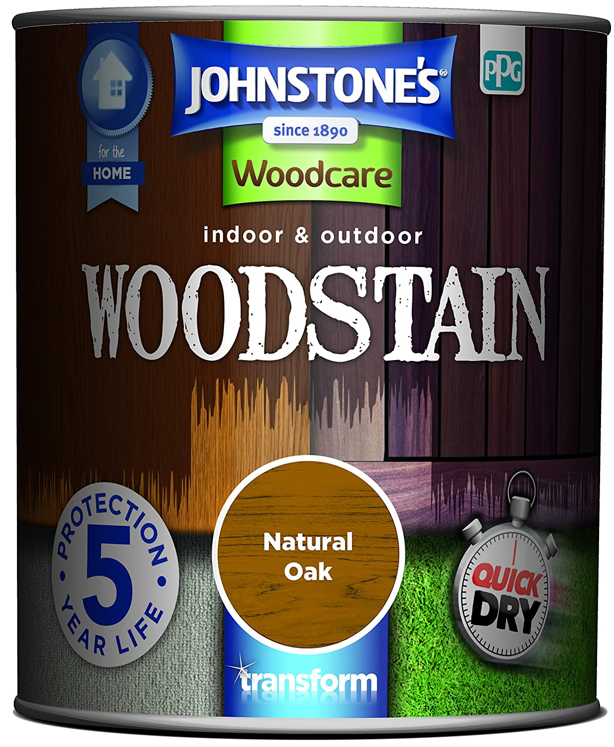 Johnstone's 309320 Woodcare Indoor and Outdoor Woodstain, Natural Oak Johnstone's