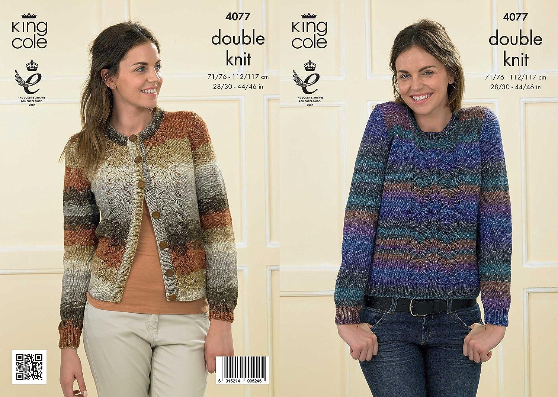 """Ladies sweater cardigan 4077 king cole DK shine knitting pattern 28-46/"""""""