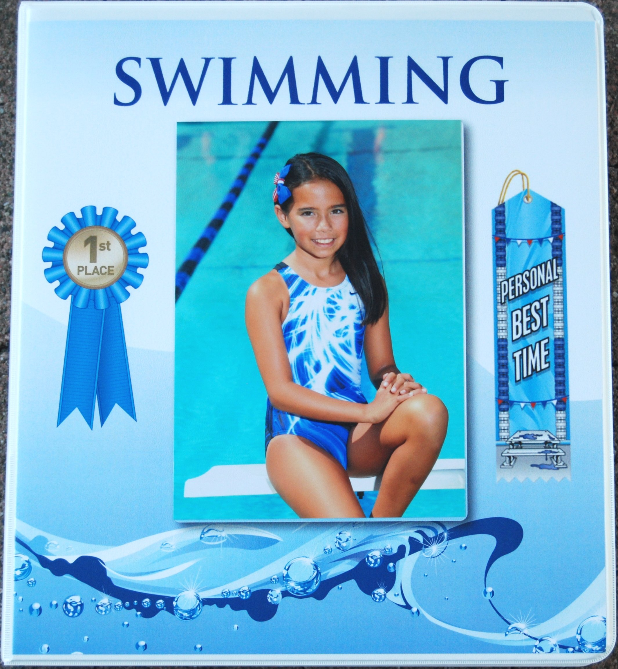 Swimming Award Ribbon BINDER Album Organizer with 15 pages Album Holder Display Gift Track and Field Gymnastics by Mercurydean (Image #6)
