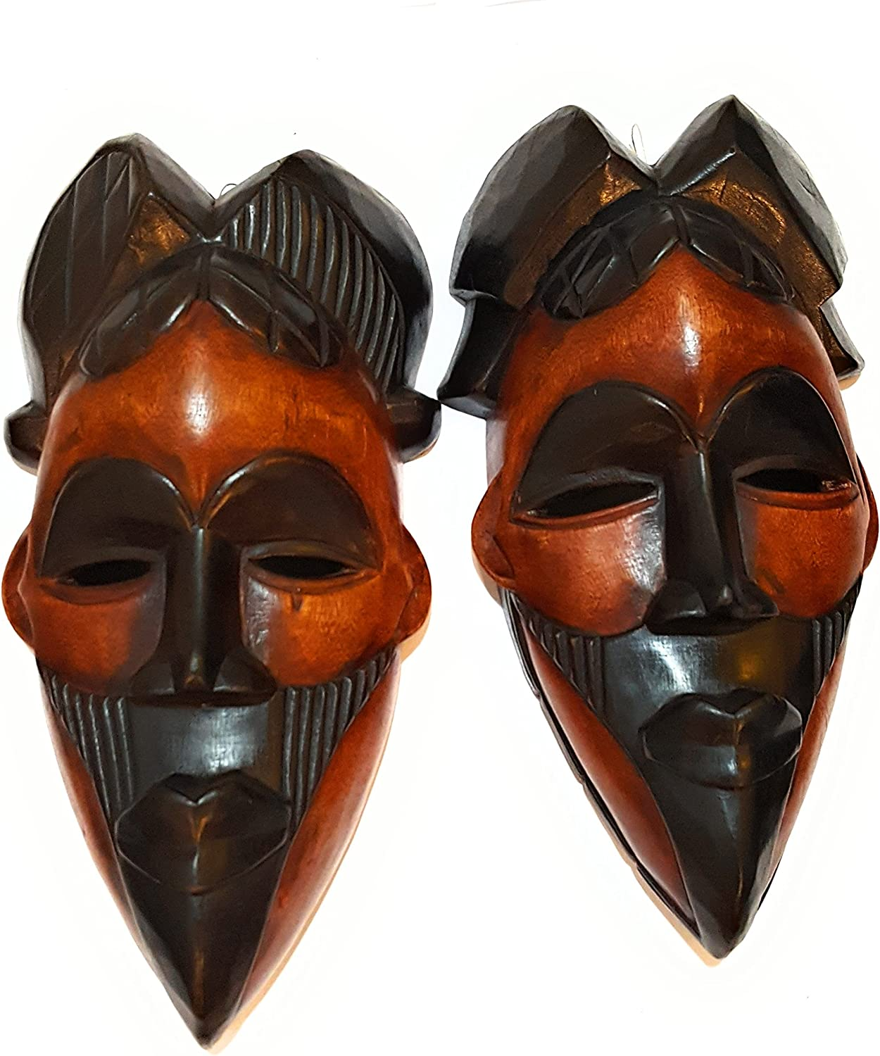 NOVARENA African Art Cameroon Gabon Fang Wall Masks and Sculptures - Africa Home Mask Decor (2 Pc Congo 12 Inch Black & BrownMask)