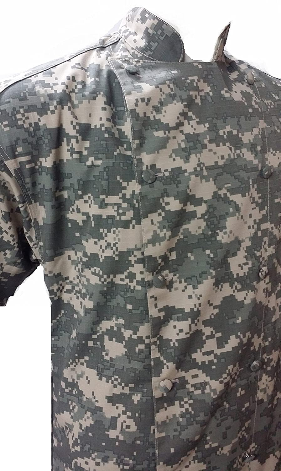 171e729feaf28 Amazon.com: Camouflage Digital ACU Chef Coat Jacket Short Sleeve Soft  Cotton Easy Care Cook Coat: Clothing