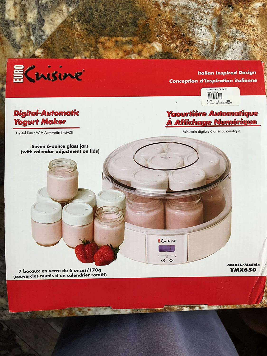 Euro Cuisine YMX650 Automatic Digital Yogurt Maker, White/Clear EuroCuisine B013FDPSVY