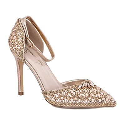 Lauren Lorraine Women's Rose Crystal Embellished D'Orsay Pump bmjOxH9