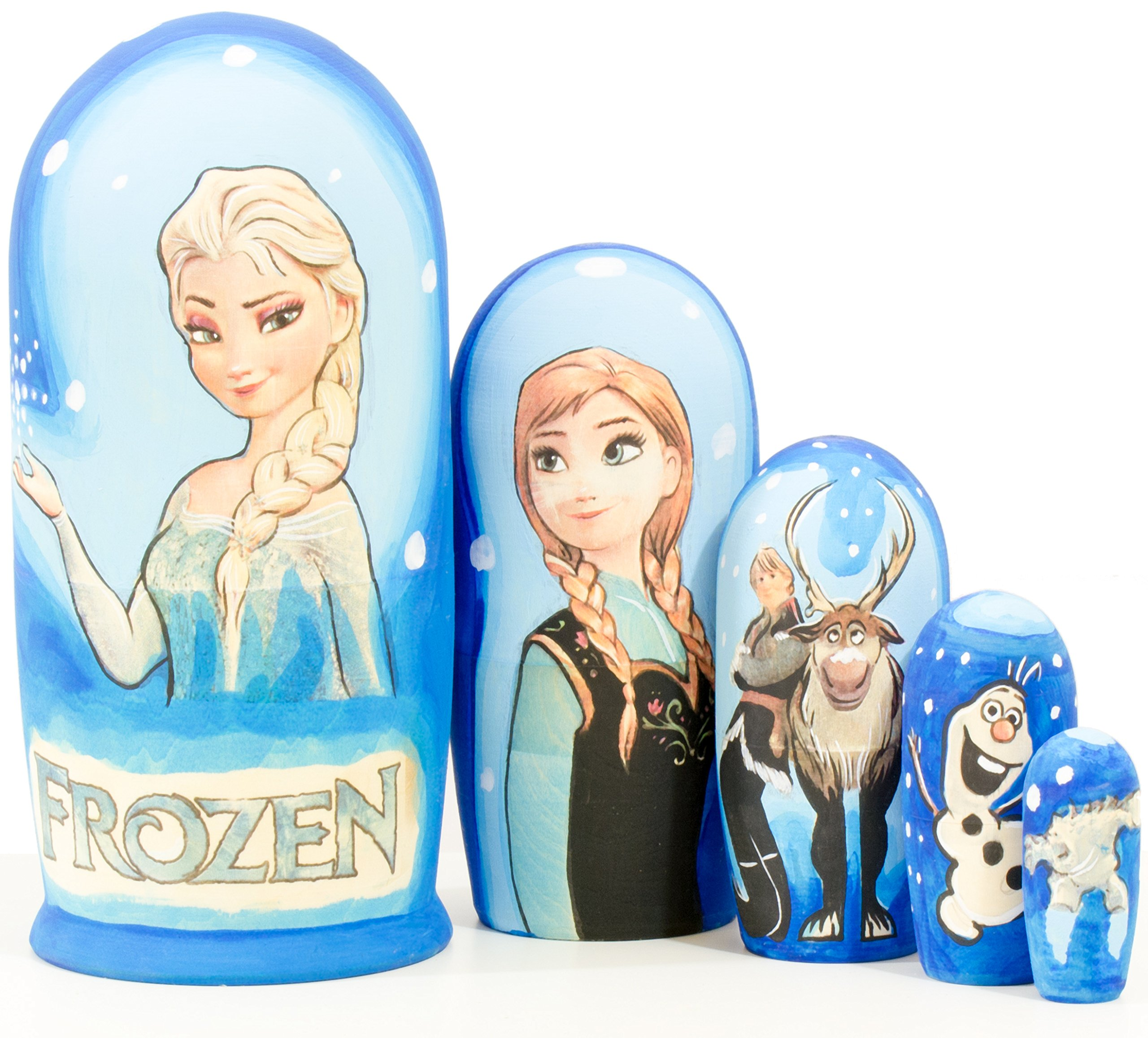 Nesting Doll - Cartoon Heroes - Hand Painted in Russia - MEDIUM SIZE - Wooden Decoration Gift Doll - Matryoshka Babushka (Design B, 6.75``(5 dolls in1))