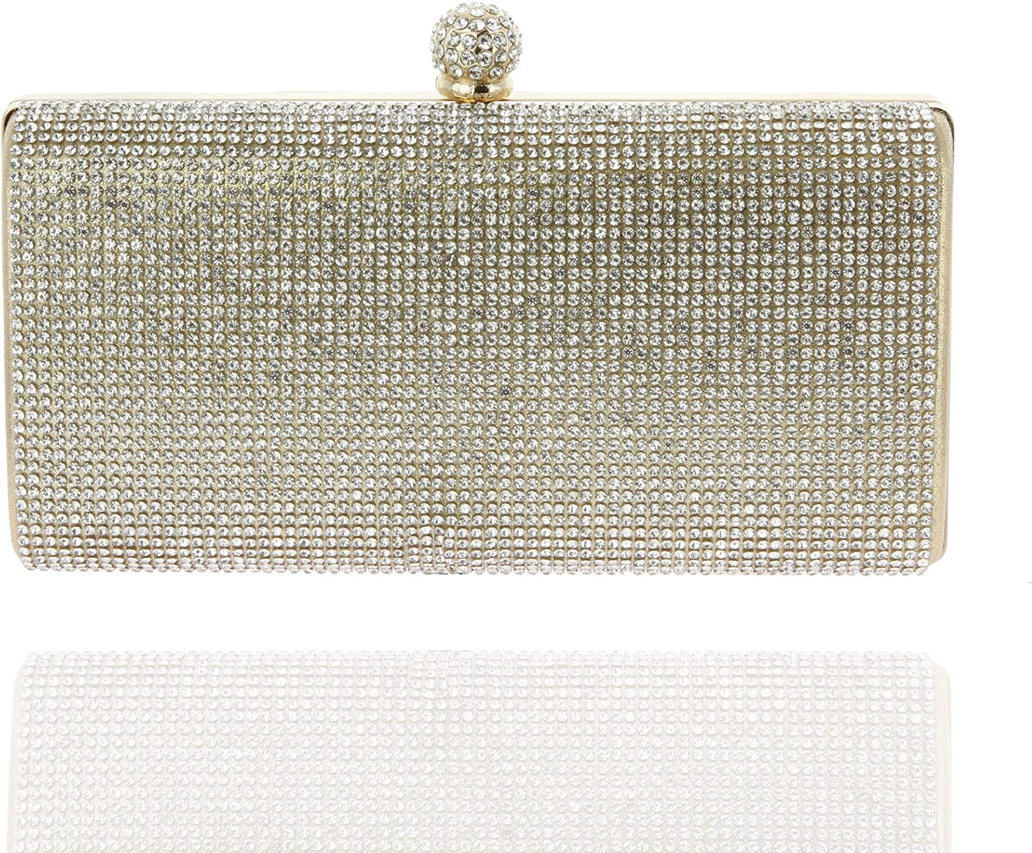 SP SOPHIA COLLECTION Elegant Rectangle Rhinestone Crystal Hand Clutch Evening Bag for Parties