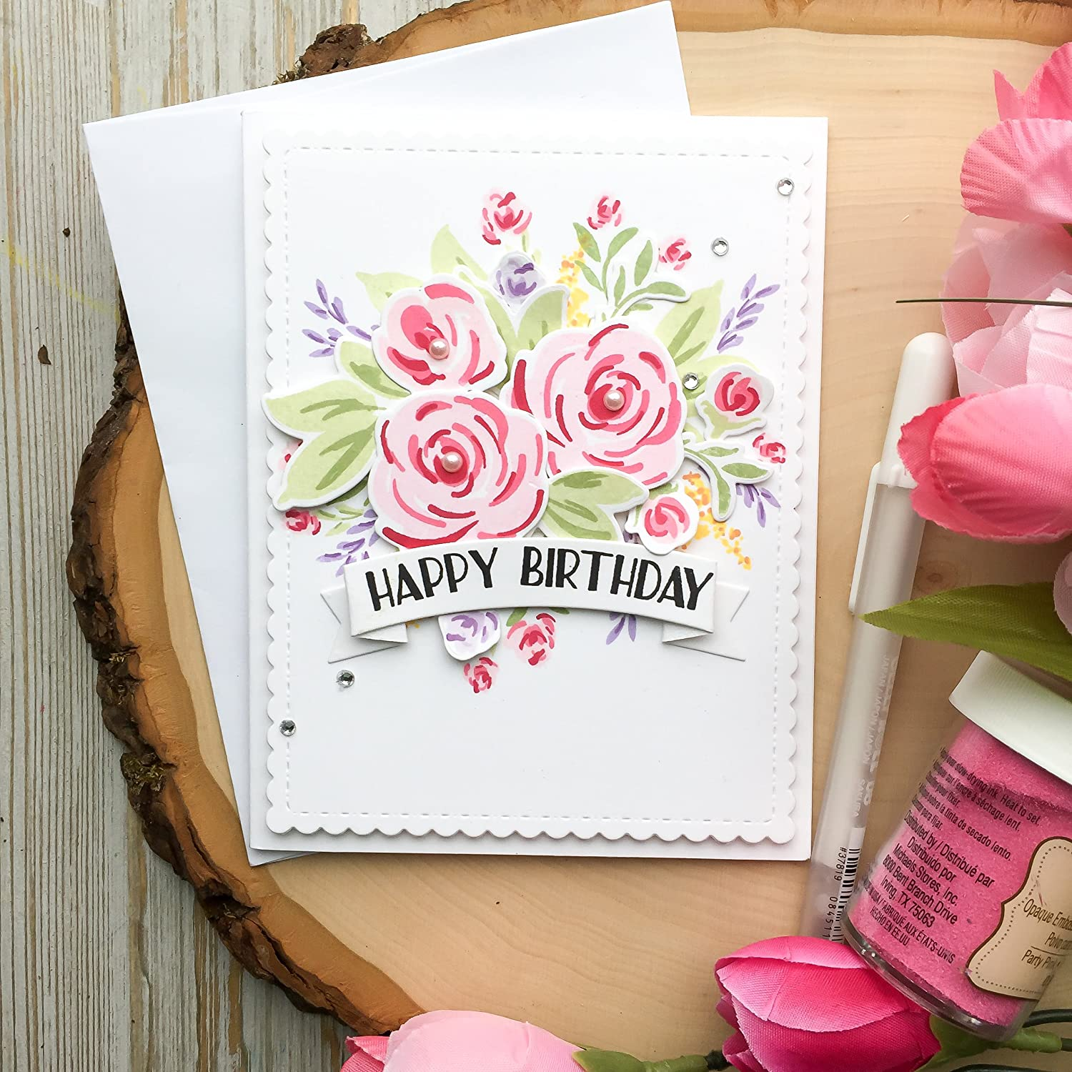cards Pink Roses Birthday card handmade cards