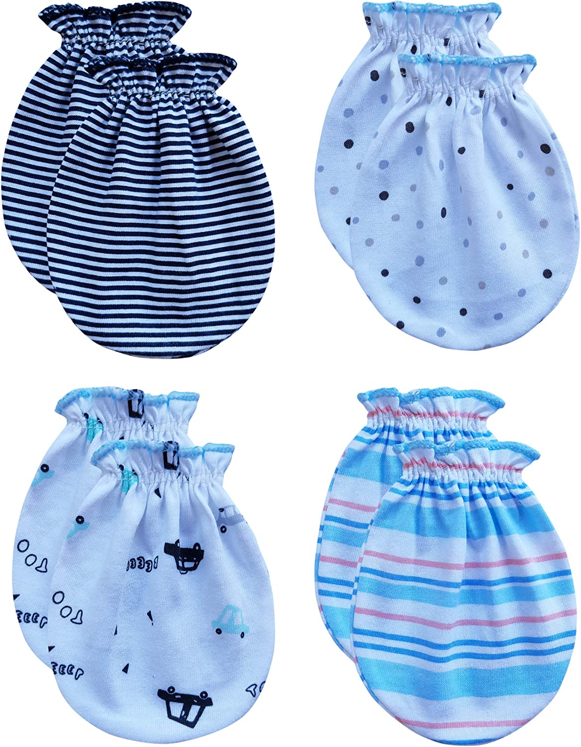 4-Pairs RATIVE No Scratch Mittens 100/% Cotton for Newborn Baby Boys Girls