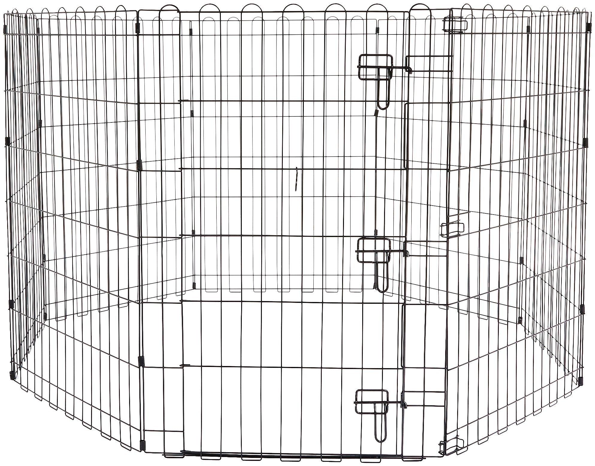AmazonBasics Foldable Metal Pet Dog Exercise Fence Pen With Gate - 60 x 60 x 36 Inches by AmazonBasics
