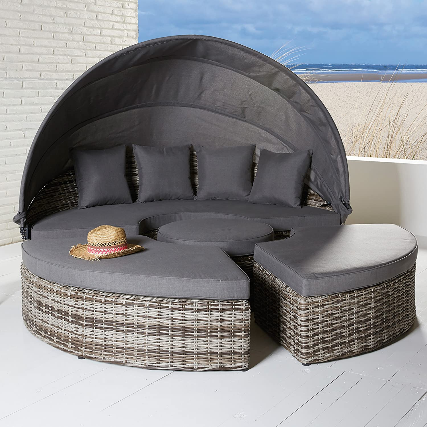 strandkorb muschel rattan rugbyclubeemland. Black Bedroom Furniture Sets. Home Design Ideas