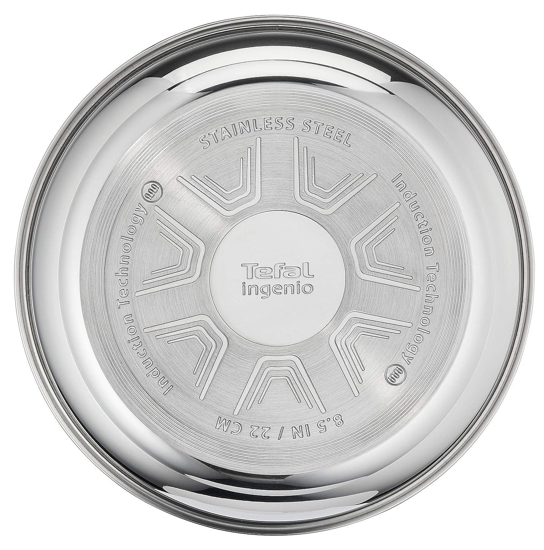 Tefal Ingenio Pro acero inoxidable sartén inducción, acero inoxidable, 22 cm