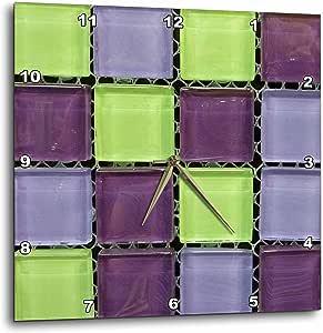 DPP/_53288/_3 3dRose 3D Rose Popular Green n Purple Glass Tiles On Grid-Wall Clock 15-inch