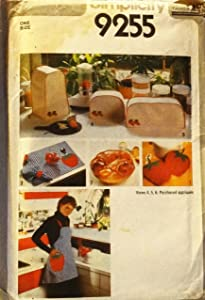 Simplicity 9255 Sewing Pattern Kitchen Appliance Covers Pot Holders Bun Warmer Apron Napkins
