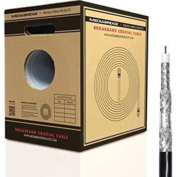 Mediabridge Broadband Coaxial Cable (250 Feet, Black) - Convenient Pull-Out Box - Premium 18AWG RG6 Quad-Shielded Cable - UL Listed CL2 Rated for In-Wall ...