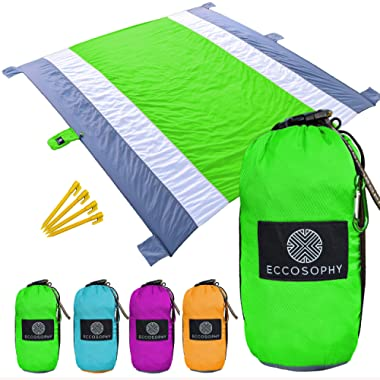 Eccosophy Outdoor Beach Blanket Sand Proof Oversized 9x10ft – Portable Compact Lightweight Beach Mat - Water/Heat Resistant-Soft Durable Parachute Ripstop Nylon–Picnic Mat for Travel Camping & Hiking
