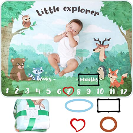 Unisex Baby Age Blanket Soft Thick /& Comfortable Woodland /& Forest Theme Personalized Shower Gifts Baby Milestone Blanket Newborn Photo Mat for Boy or Girl Includes Coloured Frames