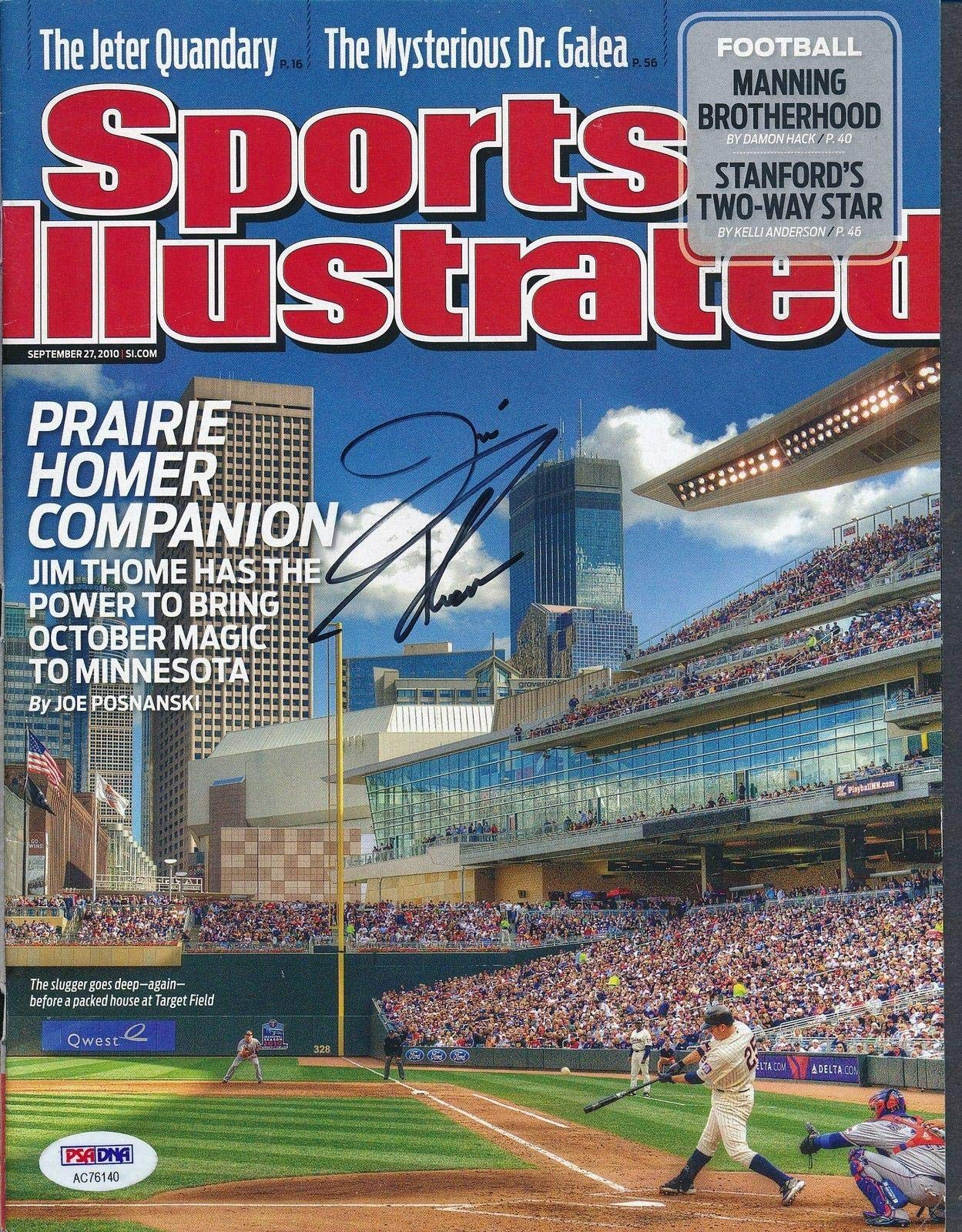 Jim Thome Signed 9/27/2010 SI Magazine Autograph Auto AC76140 PSA/DNA Certified Autographed MLB Magazines