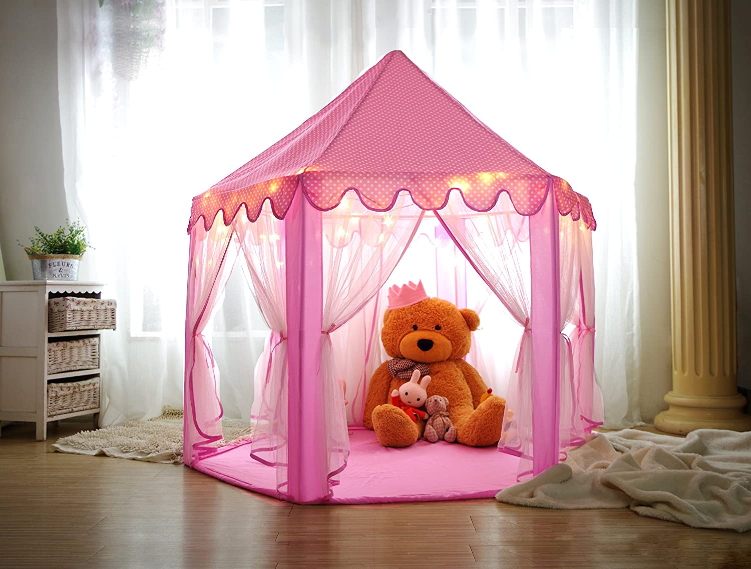 Amazon.com Kids Play House Princess Tent - Indoor and Outdoor Hexagon Pink Castle Play tent for Girls with LED Light by MonoBeach Kitchen u0026 Dining & Amazon.com: Kids Play House Princess Tent - Indoor and Outdoor ...