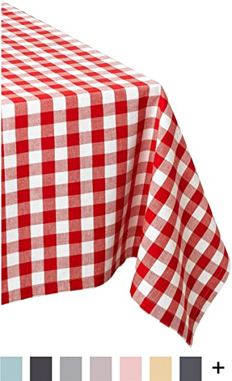 DII 52x52u0026quot; Square Cotton Tablecloth, Red U0026 White Check   Perfect For  Fall,