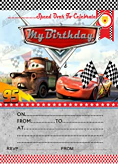 Birthday Party Invitations Disney Cars Lightning Mcqueen 8 Cards Free Envelopes 16