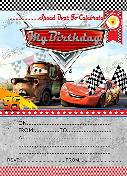 Birthday Party Invitations Disney Cars Lightning Mcqueen 8 Cards Free Envelopes 16 Amazoncouk Kitchen Home