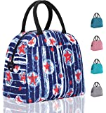 Elvira Insulated Tote Lunch Bag with Removable Adjustable Shoulder Strap for Women Water Resistant Reusable Cooler Lunch Box for Work School Picnic Hiking Beach-Red Pentagram