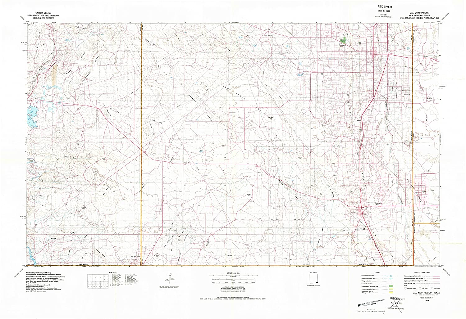 Jal New Mexico Map.Amazon Com Yellowmaps Jal Nm Topo Map 1 100000 Scale 30 X 60