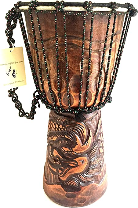 Djembe Drum Bongo Congo Deep Carved Elephant Design African Drum LARGE 20 Tall Solid Wood Professional Quality JIVE BRAND