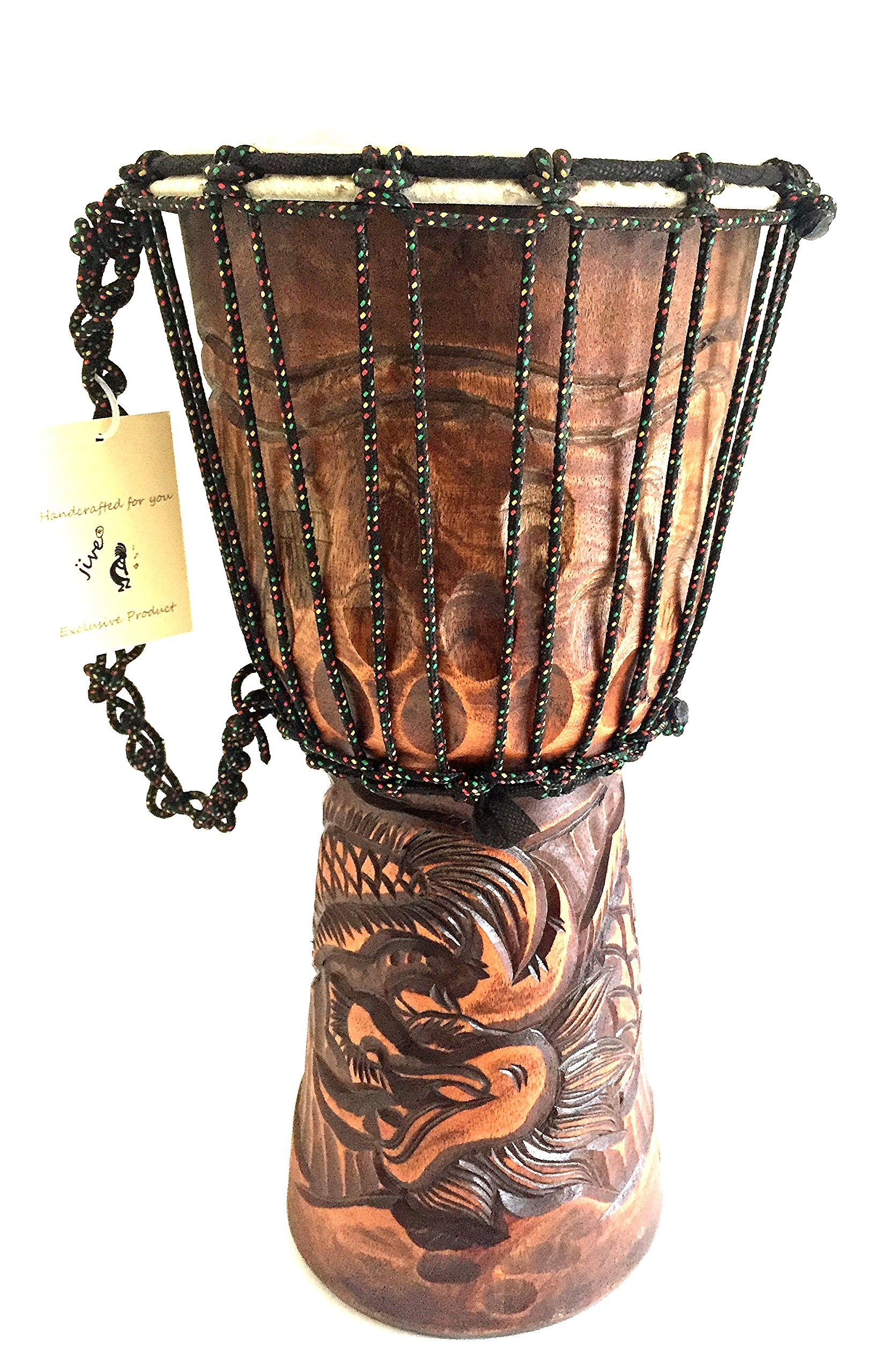 Djembe Drum SOLID Mahogany Wood Deep Carved Dragon Drum PROFESSIONAL QUALITY/ SOUND - XL SIZE - JIVE BRAND