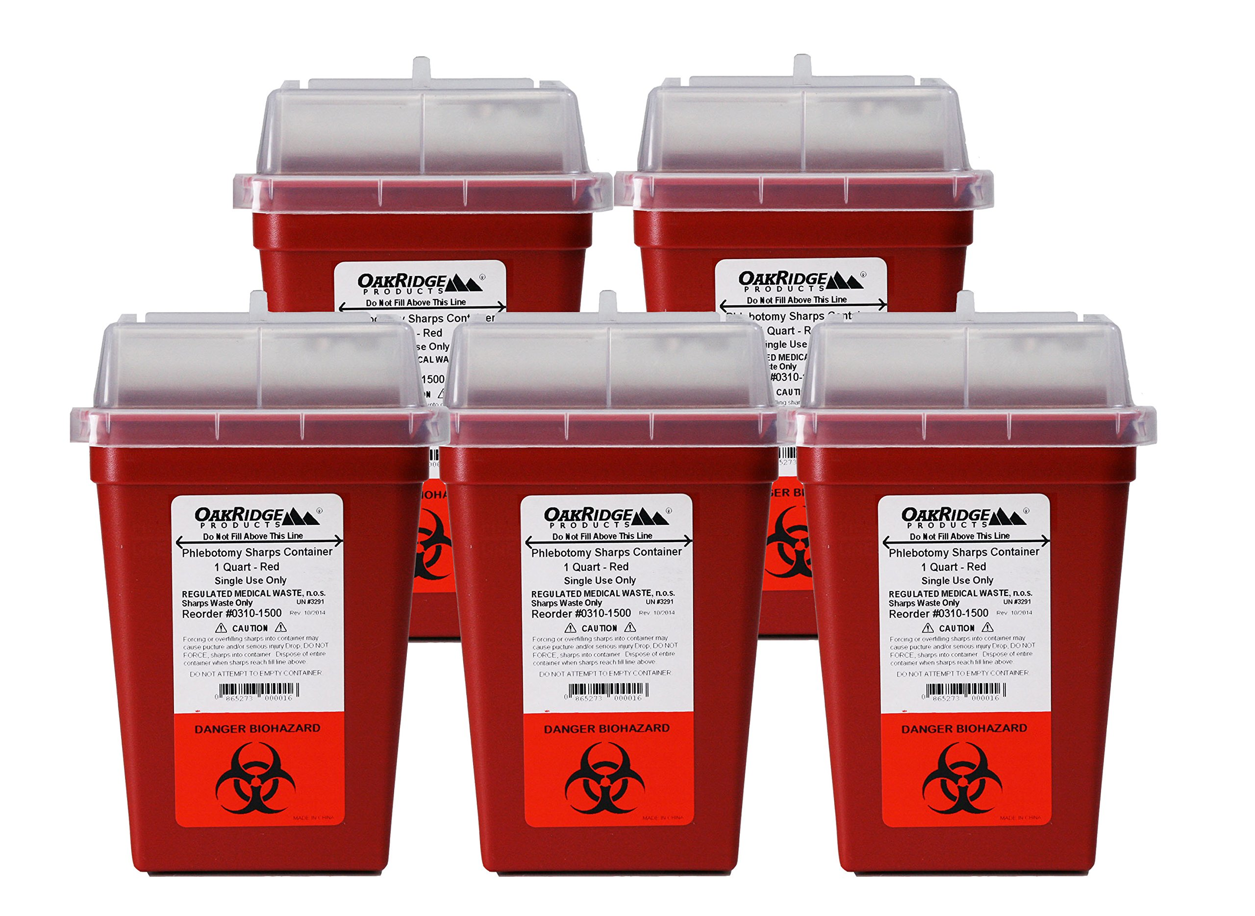 Oakridge Products 1 Quart Size (Pack of 5) | Needle Disposal Container | Buy 4 one get 1 Free
