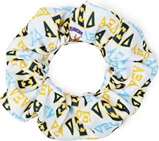 product image for Alpha Xi Delta Sorority Scrunchies Officially Licensed Greek Letters Print Ponytail Holders Scrunchie King Made in the USA