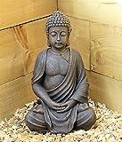 Grand Bouddha assis effet pierre 39cm Statue décoration Thaï pour jardin extérieur et intérieur