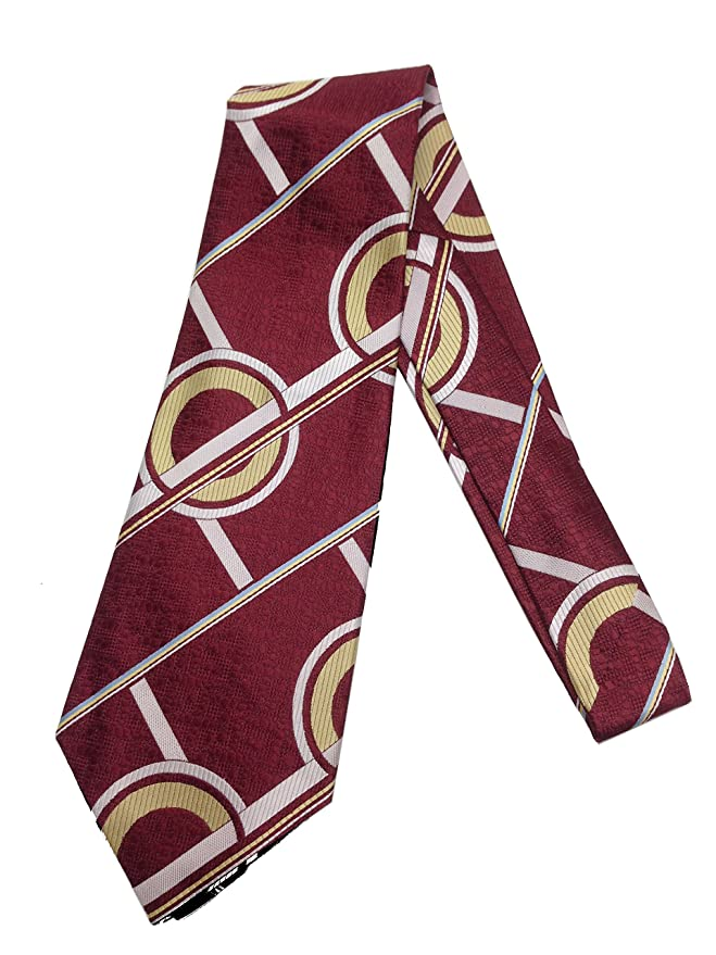 New 1930s Mens Fashion Ties Maroon Circle Geometric Necktie - Vintage Jacquard Weave Wide Kipper Tie $22.95 AT vintagedancer.com