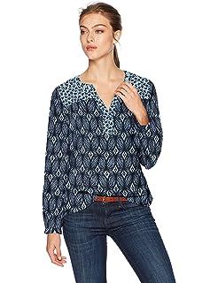 53047191bf NYDJ Women s Batik Printed Long Sleeve Knit Lace Up Top at Amazon ...