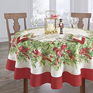 Elrene Home Fashions Holly Traditions Fabric Tablecloth, 60