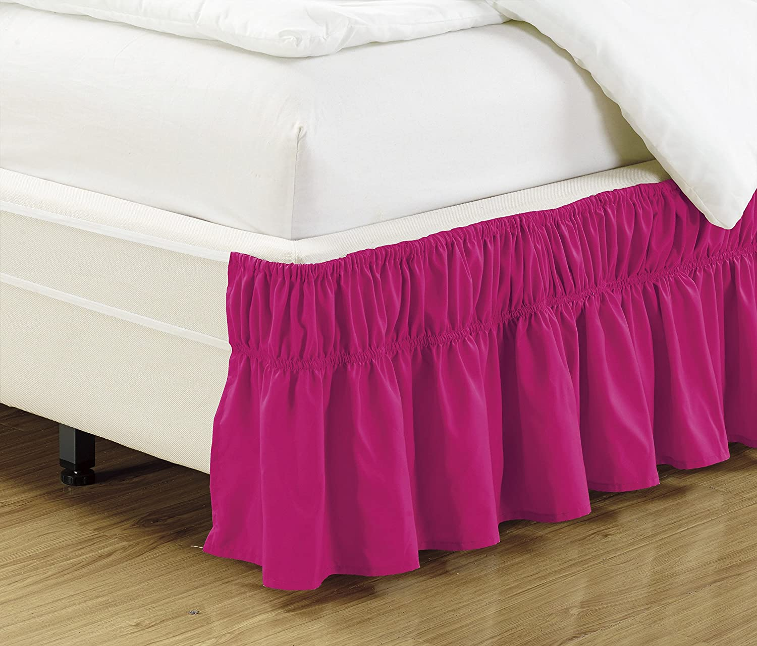 Mk Collection Wrap Around Style Easy Fit Elastic Bed Ruffles Bed-Skirt Queen-King Solid Hot Pink New