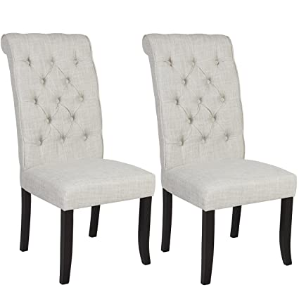 Charming Best Choice Products Furniture Set Of 2 Tufted Parsons Dining Chair Set  Modern Wood Linen Side