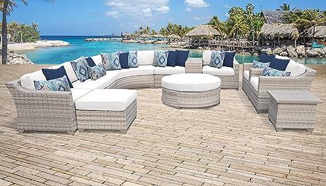 TKC Fairmont - Juego de 12 sofás de mimbre para patio, color ...