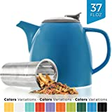Tealyra - Drago Ceramic Teapot - 1100ml (5-6 cups) - Large Stylish High-Fired Ceramic Teapot with Stainless Steel Lid and Extra-Fine Infuser To Brew Loose Leaf Tea - Dishwasher-safe - BPA Free - Blue