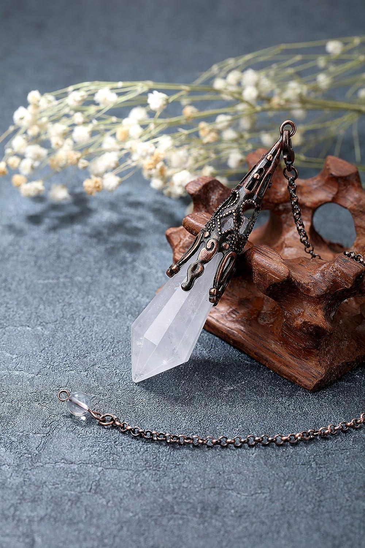 CrystalTears Pendolo Vintage in Cristallo di Rocca Pietra Vera Naturale Preziosa per Divinazione Radioestesia Cristallo Terapia Chakra Bronzo
