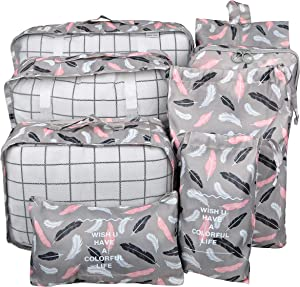 Vercord 8 Set Travel Packing Pods Luggage Organizers Cubes with Laundry Bags Accessories, Bird Feathers