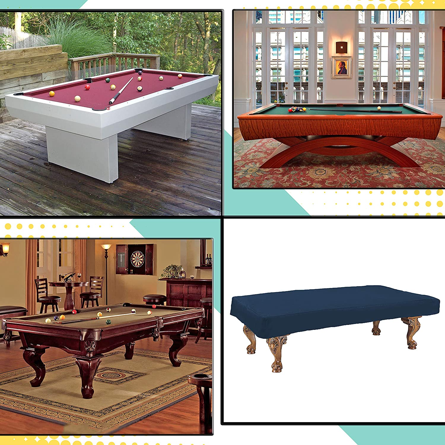 100/% UV /& Weather Resistant Outdoor Pool Table Cover Billiard Pool Table Cover 12 Oz Waterproof