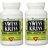 Swiss Kriss Herbal Laxative Tablets By Modern Products (2 Bottles each of 250 Tablets)