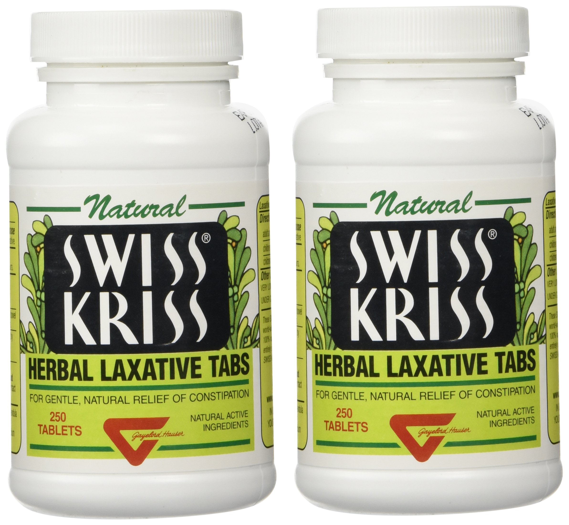 Swiss Kriss Herbal Laxative Tablets By Modern Products, 250 Count, Pack of 2