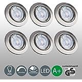 Faretti LED dimmerabili | Lampadine LED 5W | Illuminazione a incasso | Set di 6 luci rotative 380 lm | Plafoniera montaggio GU10 | lampadina INCLUSA Classe A+