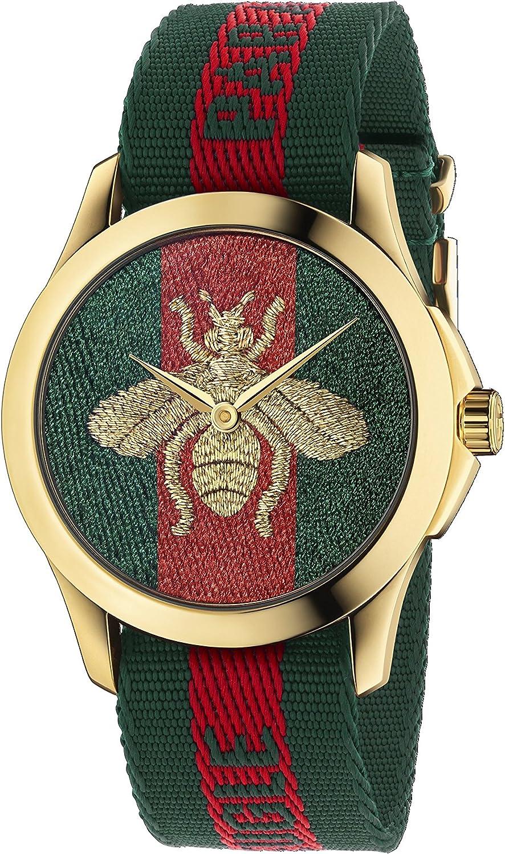 Gucci Reloj Análogo clásico para Unisex de Cuarzo con Correa en Nailon YA126487