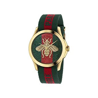c0573ce00a38a Amazon.com  Gucci Quartz Gold and Nylon Casual Watch